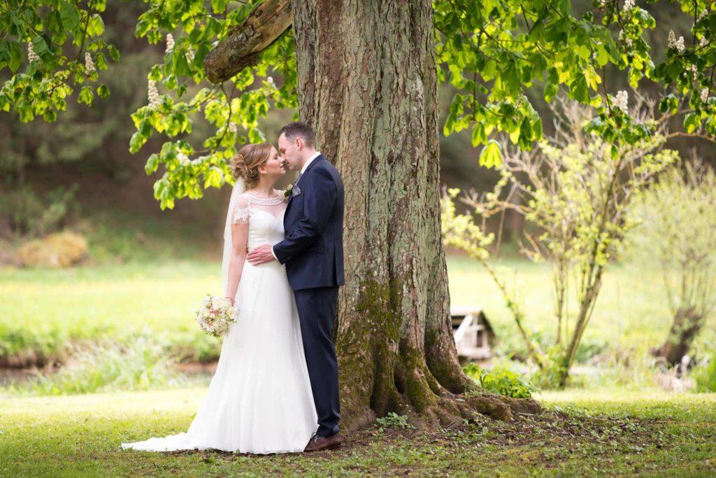 Hochzeit Baum Brautpaar Brautkleid Anzug Braut Wiese Hemau