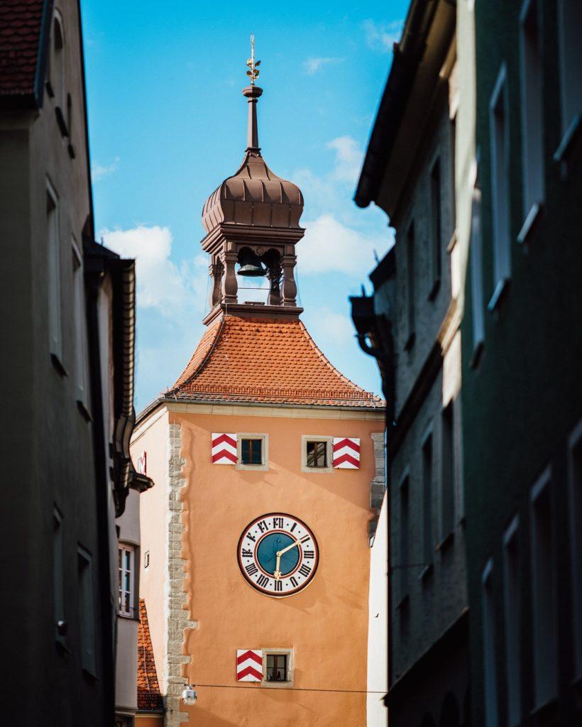 Brückturm Himmel Blau Orange Regensburg