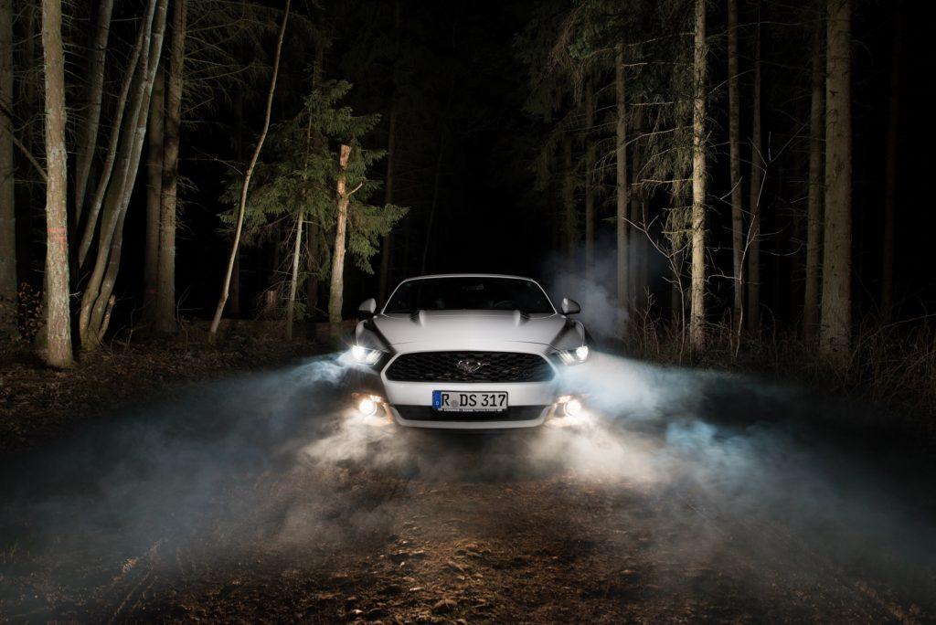Ford Mustang Auto Weiß Nebel Wald Regensburg