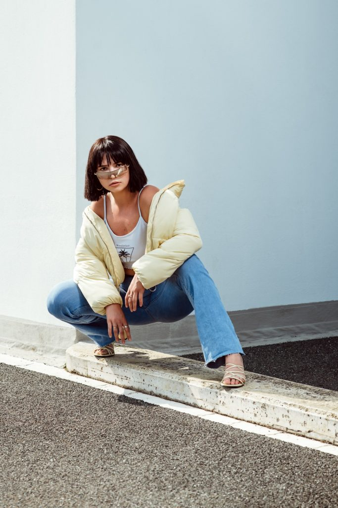 Mode Portrait Frau Hocke Fotograf